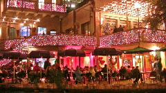 Night Christmas River Walk restaurants San Antonio HD - stock footage