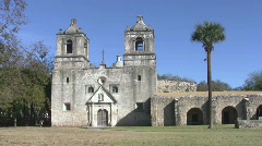 Mission Concepcion front pan right HD Stock Footage