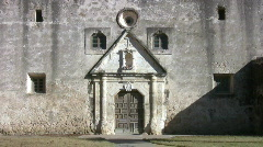 Mission Concepcion front door pan up HD Stock Footage