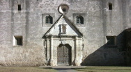 Stock Video Footage of Mission Concepcion front door pan up HD