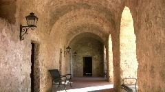 Mission Concepcion arch hallway HD Stock Footage
