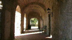 Mission Concepcion arch hallway visitor outside HD Stock Footage