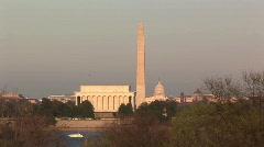 U.S. Capitol Building, Washington Monument, & Lincoln Memorial in Washington DC Stock Footage