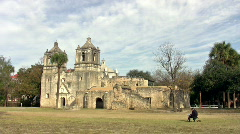 Mission Concepcion and artist painting HD Stock Footage