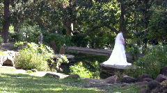 Wedding bride pond garden HD Stock Footage