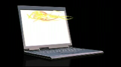 Laptop white screen and lights running Stock Footage