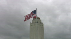 Flag waving tower time lapse HD Stock Footage