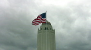 Stock Video Footage of Randolph AFB water tower flag close HD