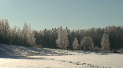 Time-lapse of tractor preparing skiing paths Stock Footage