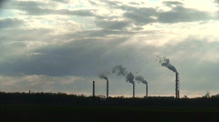 Smoke from chemical factory chimneys 3 Stock Footage