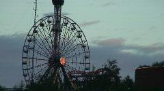 Amusement park after sunset Stock Footage