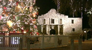 Stock Video Footage of Alamo at Christmas San Antonio Texas