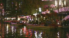 Riverwalk night Christmas dinner HD - stock footage