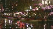 Riverwalk night Christmas dinner HD Stock Footage
