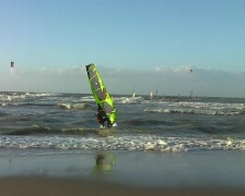 Windsurfing at the north sea in Holland Stock Footage