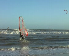 Windsurfing on a wild north sea in the Netherlands Stock Footage