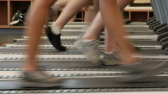 Feet on treadmill - stock footage