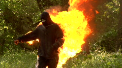 Man on Fire 720 24p slo mo Stock Footage