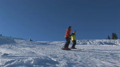 Skiers side face Stock Footage