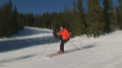 Skiing on a sunny day Stock Footage
