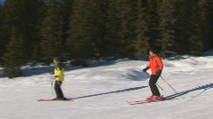 Relaxed skiing on flat slope Stock Footage