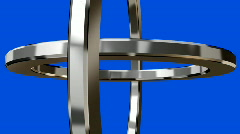 Chrome Rings on blue screen - stock footage