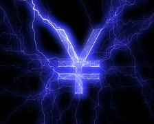 Yen sign in lightning Stock Footage