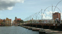 Willemstad, Netherlands Antilles - pontoonbridge - pan left Stock Footage