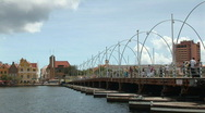 Stock Video Footage of Willemstad, Netherlands Antilles - pontoonbridge - pan left