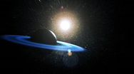 Blue ring planet v2 (radial harsh blur) Stock Footage