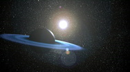 Stock Video Footage of blue ring planet1 (realistic)