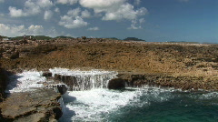 Rough coast & blow hole Stock Footage