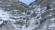 Bridal Vail Falls Winter zoom in HD Stock Footage