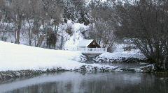 Cabin winter pond bridge scenic historic Utah HD Stock Footage