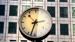 building clock docklands london time business finance - stock footage