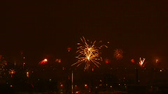 Time-lapse of New-Year switch fireworks over the city 3 Stock Footage