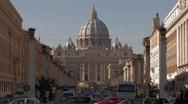 Vatican & Saint Peter's Basilica from Via della Conciliazione Stock Footage