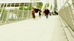 Waterloo bridge people rush london commute city urban Stock Footage