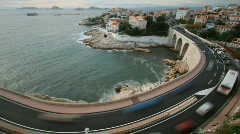 Corniche coast road sea marseille france Stock Footage