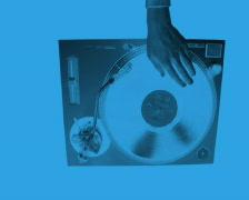 Dex turntable music dj party vinyl record player Stock Footage