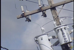 Electrical Power Lines and Transformers Stock Footage