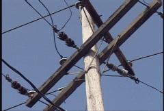 Electrical Power Lines - Pole Stock Footage