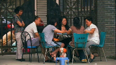 People playing Mahjong in Chengdu, China Stock Footage