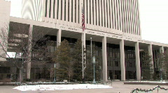 LDS Church Headquarters pan up HD Stock Footage