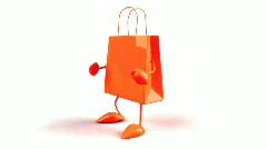 Shopping bag dancing Stock Footage