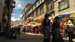 Street life in downtown lhasa, Tibet Stock Footage