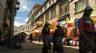 Stock Video Footage of Street life in downtown lhasa, Tibet