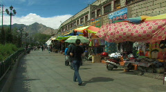 Street in lhasa, Tibet Stock Footage