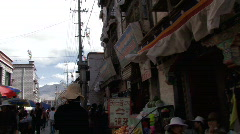 A busy street in lhasa, Tibet Stock Footage