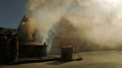 People burning herbs in stone oven in front of Jokhang in tibet lhasa. Stock Footage